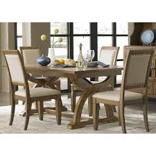 kitchen dining room tables liberty town and country transitional trestle table brown