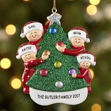Family Decorating the Tree Ornament