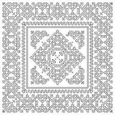 Free Blackwork Embroidery Charts Free Blackwork Chart Biscornu Monochrome Detailed Ornamental