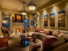 Traditional Living Room With Hanging Traditional Lighting And