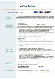 Payroll Specialist Resume Templates 2018 Resume 2018