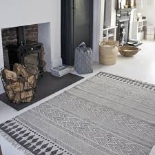 block print rug black grey white