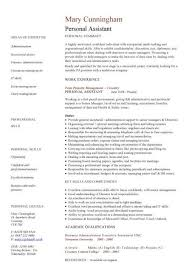 resume for personal assistant