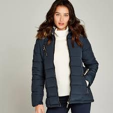navy longline faux fur hood puffer jacket