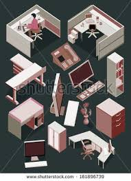 isometric office furniture vector collection. My Popular Vector On Shutterstock. Get It Now ! Here #vector #digital Art #illustration #interior # Isometric #cool #popular #architec #detail #work Office Furniture Collection S