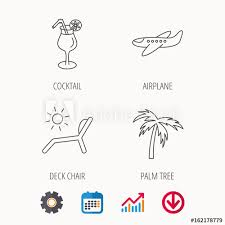 Download Palm Chart Airplane Deck Chair And Cocktail Icons Palm Tree Linear