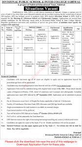 divisional public school inter college sahiwal jobs 2016 divisional public school inter college sahiwal jobs 2016 application form teachers latest
