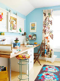 colorful home office. home office with bright blue walls colorful u