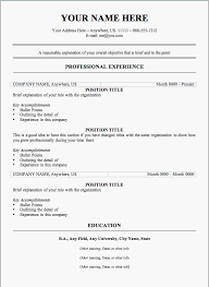 free resume outlines