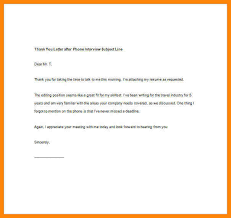 thank you letter after interview sample thank you letter after phone interview subject line