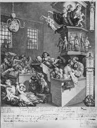the complete site for research on william hogarth  the published version of the engraving is discussed as a satire on methodist fanaticism however the first state which is obscured by the second