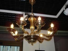 vintage chandelier art deco bronze and brass