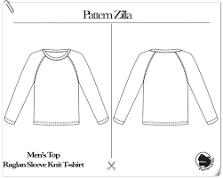 Raglan Sleeve Pattern Best Men's Top Raglan Sleeve Knit Tshirt PatternZilla