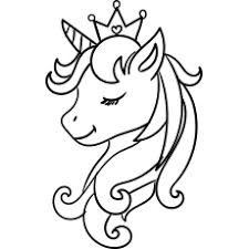 Head of a unicorn with a horn and mane. Top 50 Free Printable Unicorn Coloring Pages