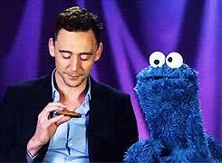 cookie monster tom hiddleston gif.  Cookie Tom Hiddleston And The Cookie Monster For Monster Gif