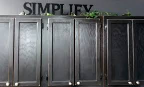 Wall Mounted Old Oak Kitchen Cabinet Painted With Black Color Ideas