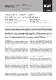 pdf energy piles cur state of knowledge and design challenges