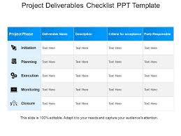Deliverables Template Project Deliverables Checklist Ppt Template Powerpoint