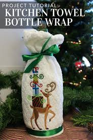 Embroidery Library Christmas Designs Transform A Kitchen Towel Into A Bottle Wrap With This