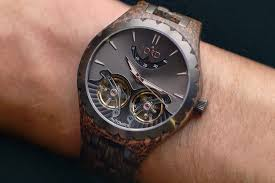 wooden watch with visible gears