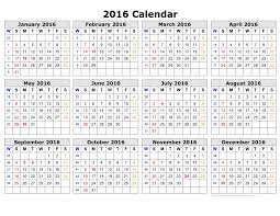 Week Number Calendar Number Calendar 2016 Calendar Template 2019