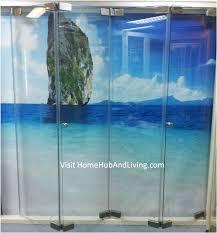 frameless door opened folding position view 279x300 official site of latest frameless doors system flying