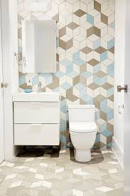 unique bathroom tile patterns. Geometric Tile Pattern Adds Extra Dimension To Powder Room Unique Bathroom Patterns E