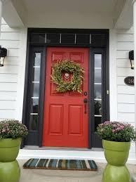 Decorations:Autumn Red Door Style With Black Frame And Artsy Leave Art  Autumn Red Door