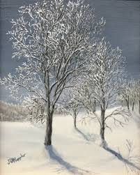 original 2016 oil painting of a group of trees on a sunny winter day covered with