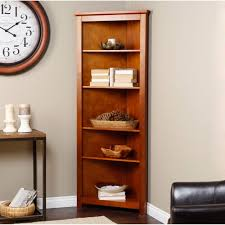 corner shelves furniture. Fine Shelves Brown Varnished Wooden Corner Bookcase Together With Grey Wall And Iron  Console Table Frame Wood Top Black Leather Sofa Plus Clock Bookshelf European Short  Throughout Shelves Furniture E