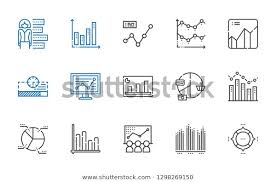 Stats Icons Set Collection Stats Pie Stock Vector Royalty