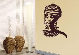 on african woman wall art with african woman portrait wall decal