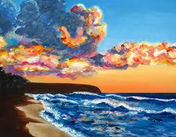 saatchi art artist michal abramovitz painting kaena point sunset beach north