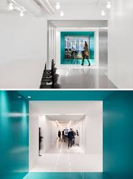 office color design. This Contemporary And Open-concept Office Design Is Mostly White, However Bold Pops Of Color G