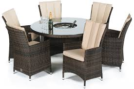 Ice Bucket Table Maze Rattan La 6 Seat Round Dining Set With A Luxury 135cm Inset