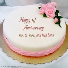 Write Your Name And Marriage Year On Happy Anniversary Cak