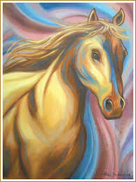 colorful horse profile oil on canvas 18 x 24