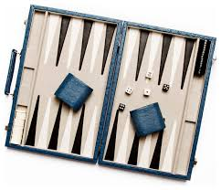 new school backgammon set blue ostrich leather