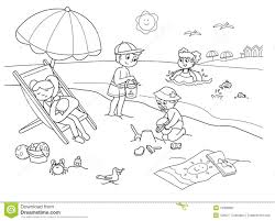 kids at the beach clipart black and white.  Beach Download Children At The Beach Stock Vector Illustration Of   19308800 To Kids At The Beach Clipart Black And White Dreamstimecom