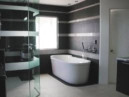 bathroom: Black Marble Tiles Wall Idea For Bathroom Feat Comfortable White  Jacuzzi Bathtub And Gorgeous