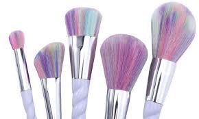 unicorn multi color brisled makeup brush set 10 piece