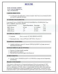 Best Resume Format For Freshers Resume Sample Collection