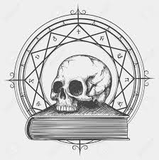 magic book sketch esoteric concept of human skull on occult book hand drawn vector ilration
