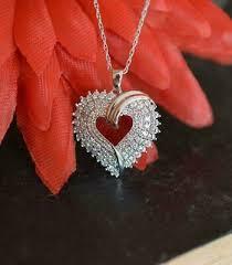 1ct heart cut diamond angel wings cross