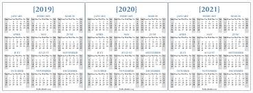 Dandy 3 Year Printable Calendar 2019 To 2021 Mini Calendar