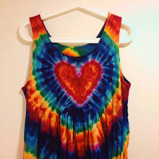 Tie Dye Heart Design Heart Design Multicoloured Tie Dye Dress Super Cute Depop