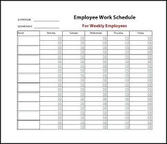 Free Weekly Schedule Template Excel Free Weekly Employee Work Schedule Template Department