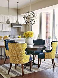 love these chairs with the fun fabric on the back just the right pop of color love love love
