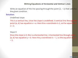 write the equation of horizontal line passing through point calculate