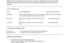 Nursing Job Resume Resume Format For Nurses Abroad Fearsome Templates Elegant Sample 8